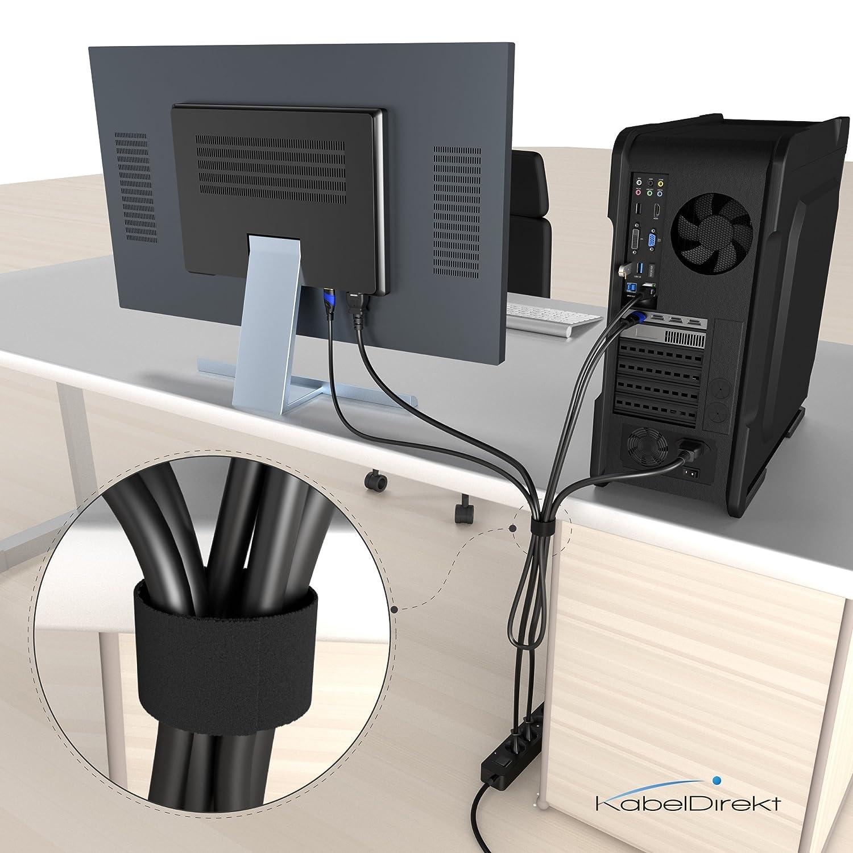 KabelDirekt 20 mm x 10 m Ruban serre-c/âble r/éutilisable, noir