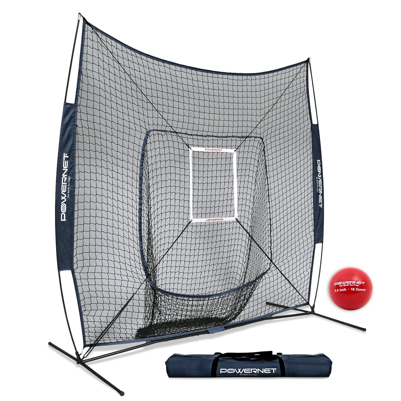 PowerNet DLX 7x7 Baseball Softball Hitting Net + Weighted Heavy Ball + Strike Zone Bundle (Navy) | Training Set | Practice Equipment Batting Soft Toss Pitching | Team Color | Portable Backstop