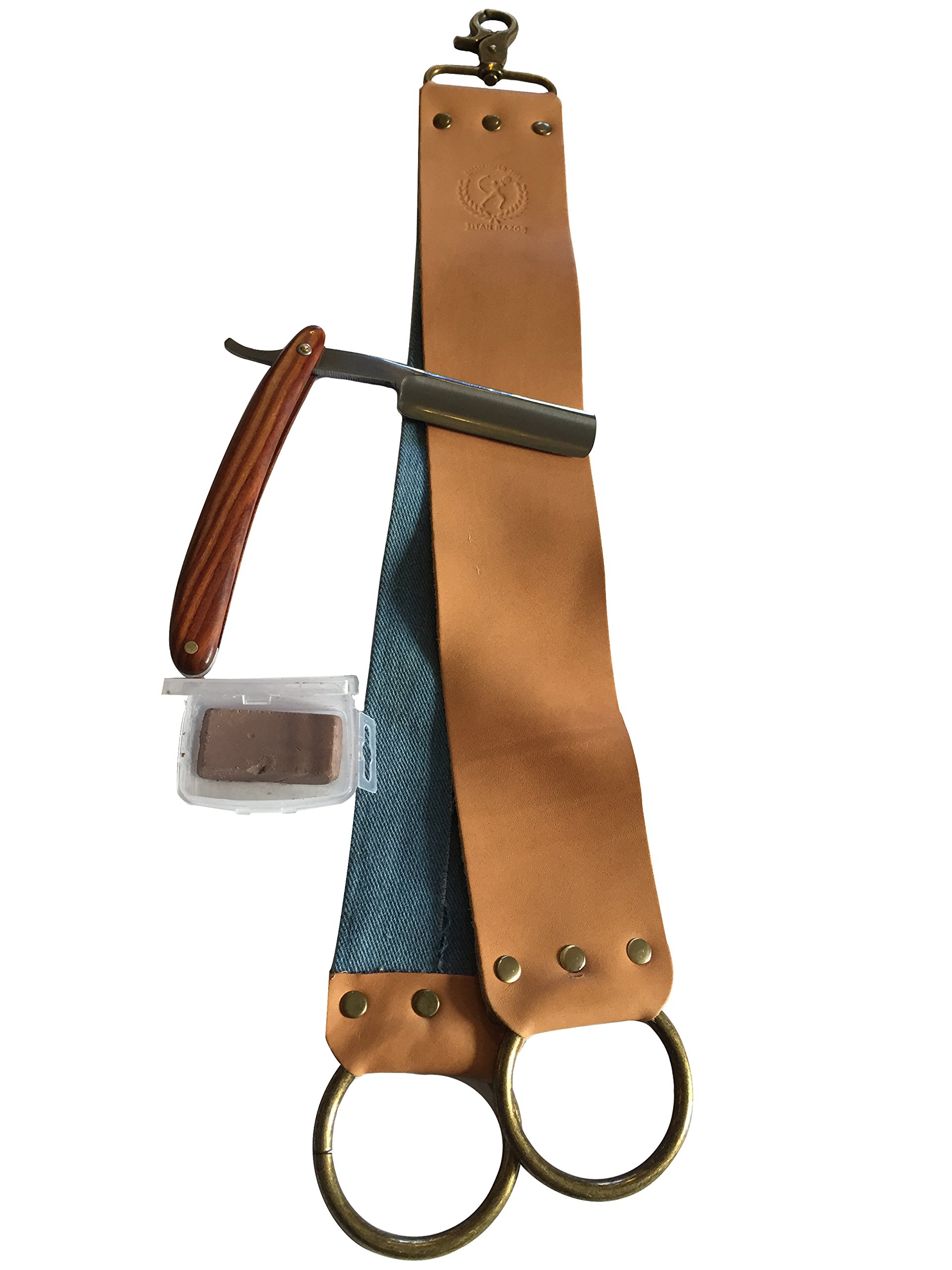 Straight Razor with Mahogany Wood Handle by Sawtooth Shave Co., 7/8 Full Hollow Ground Blade Lasts for Generations, with Strop and Honing Compound