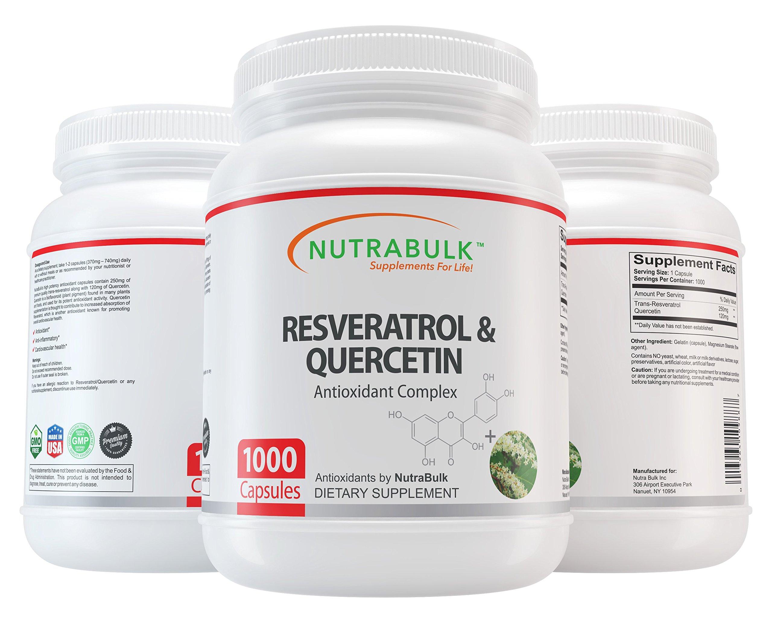 NutraBulk Resveratrol 250mg / Quercetin 120mg Capusules 1000 Count