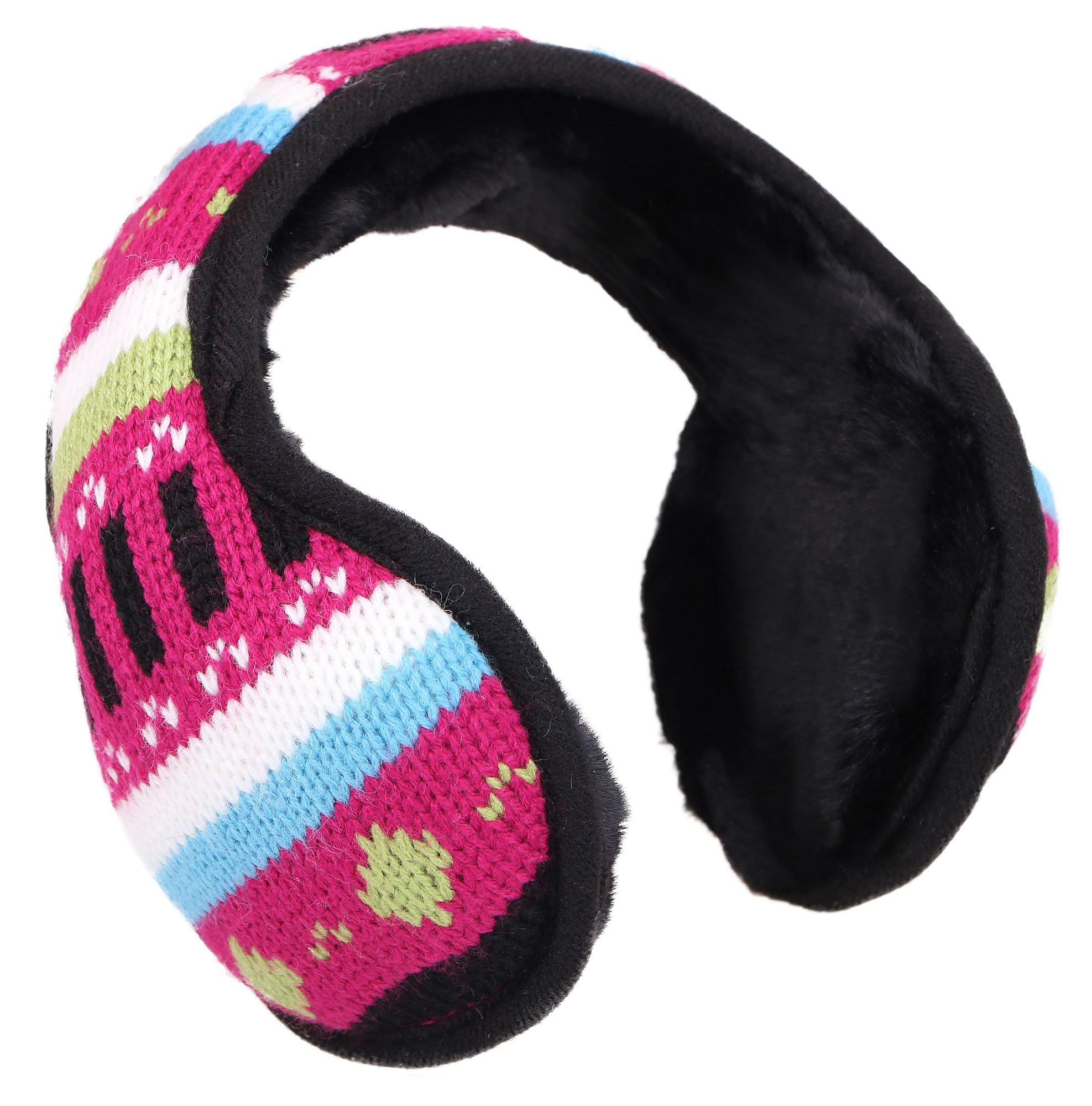 Women's Knit Earmuffs Earwarmer Fur Lined Winter Outdoor Ear Muffs, Pattern Pink
