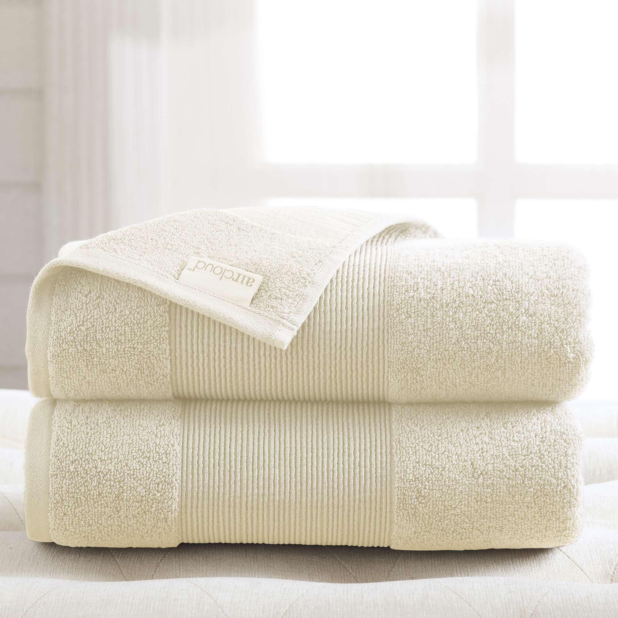 Amrapur Overseas Air Cloud 100-Percent Combed Cotton Oversized Bath Sheet Set, 2-Piece, Ivory