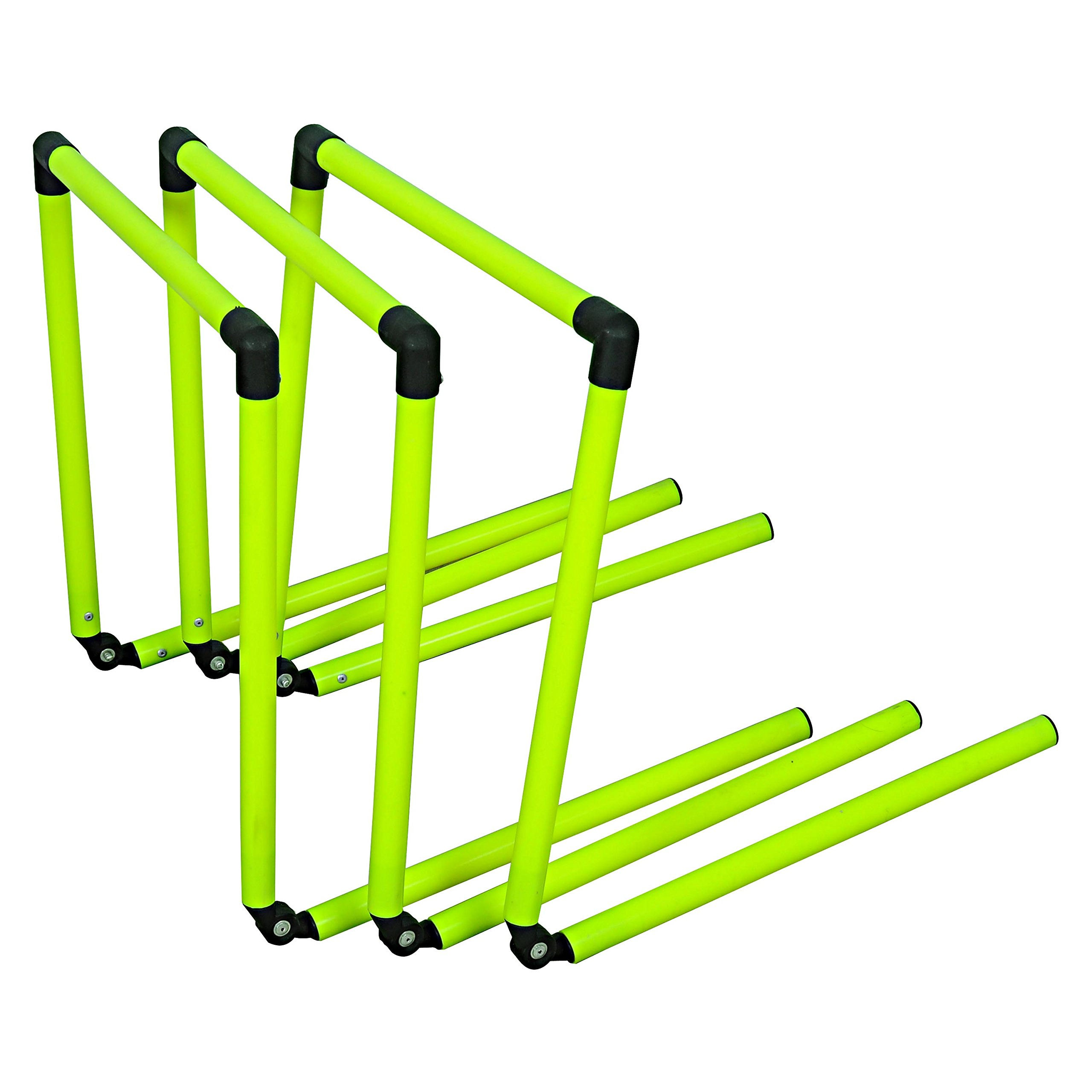 Grazzo Agility Speed Hurdles Set of 3 Adjustable 4 sizes-in-one - 3 inch to 12 inch PVC Green