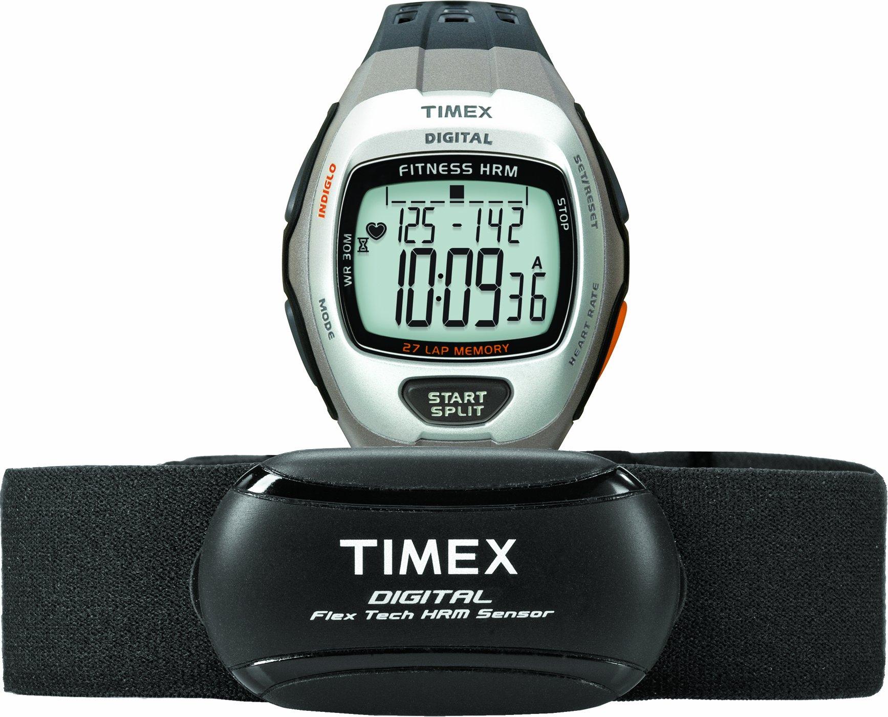 Timex Men's T5K735 Zone Trainer Digital HRM Flex Tech Chest Strap & Full-Size Dark Gray/Silver-Tone Watch