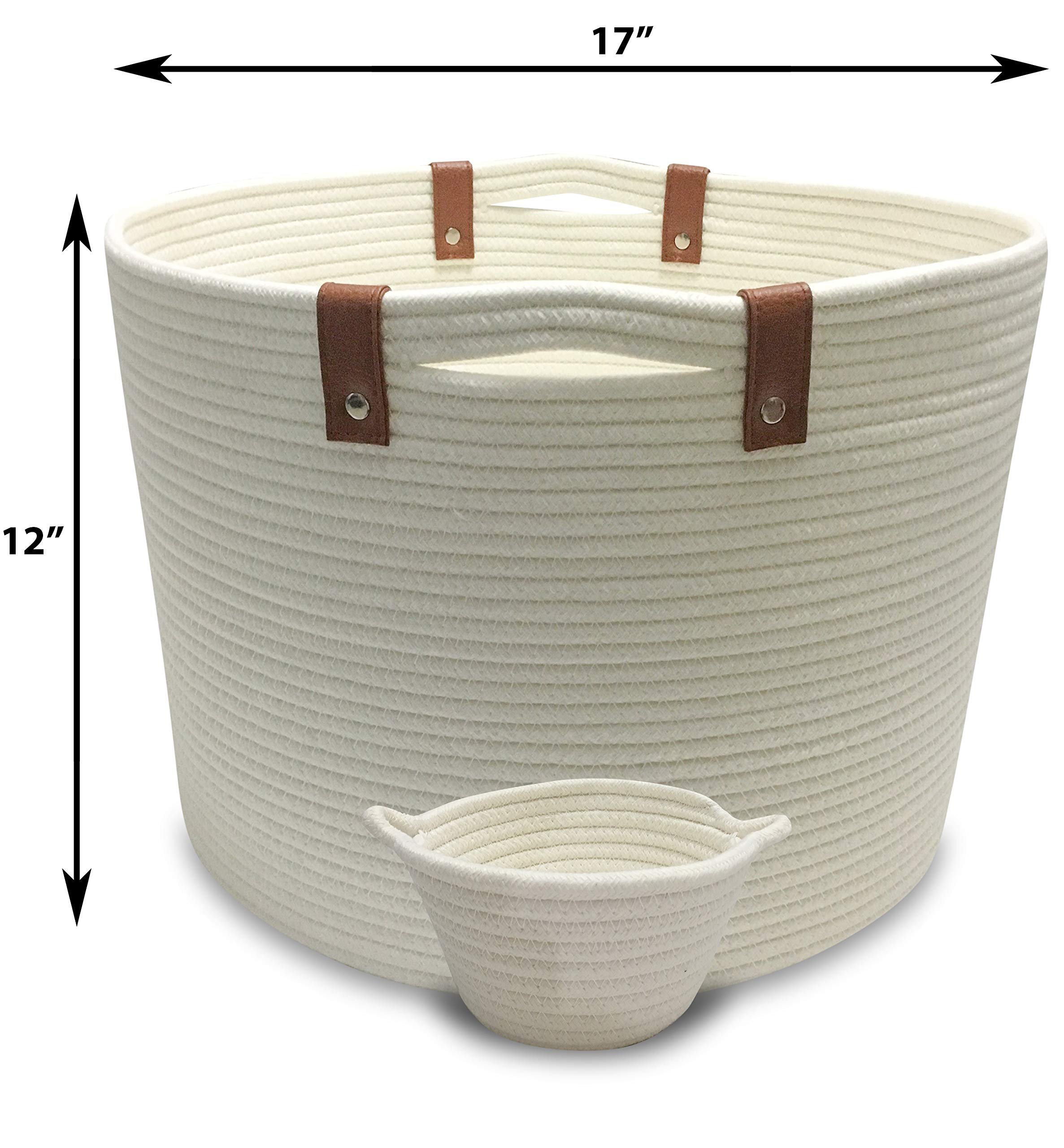 Woven Laundry Basket 17'' x 12'' | Woven Baskets for Storage are Ideal as Blankets Basket or Toy Basket | Our Cotton Rope Basket are large storage baskets with Mini Round Basket for Keys or knick-knacks