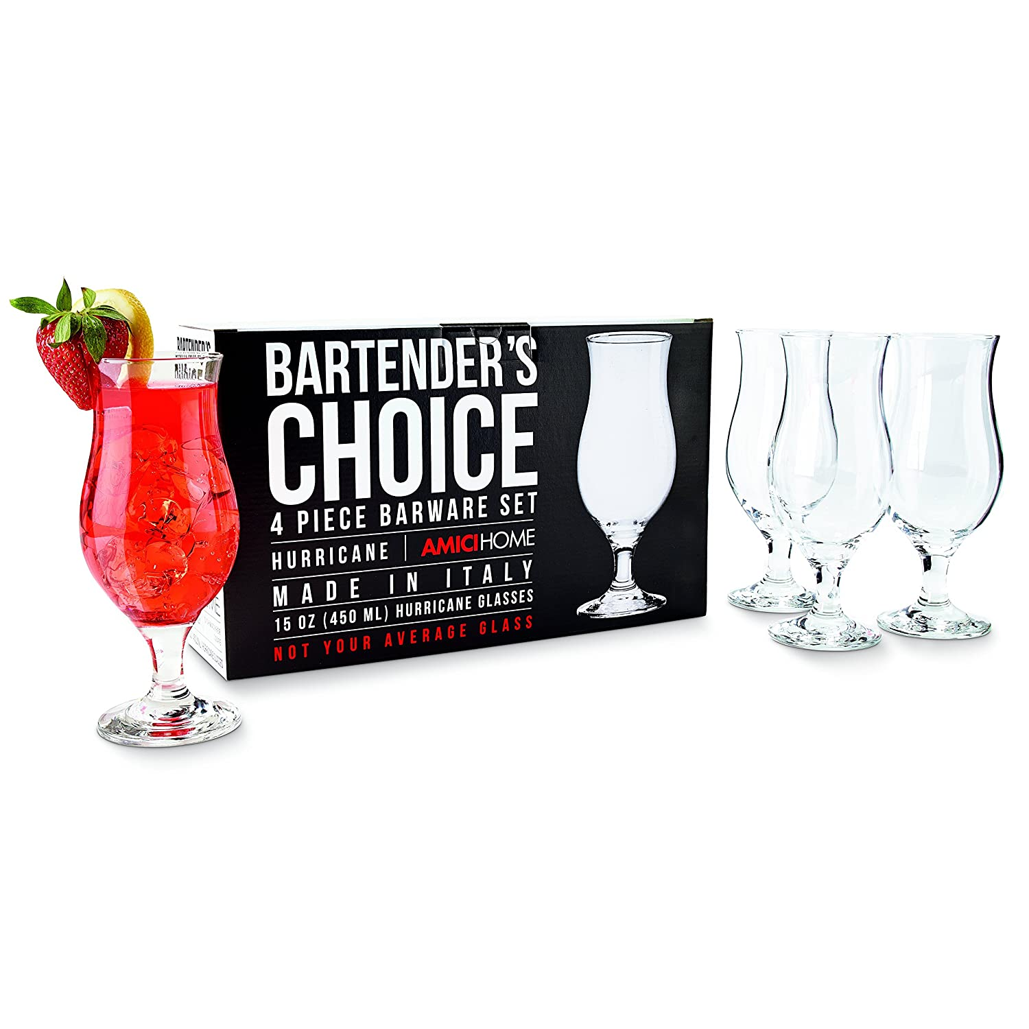 Amici Bartender's Choice Footed Hurricane Glass, 15 oz. - Set of 4 Amici Home 7AB104R