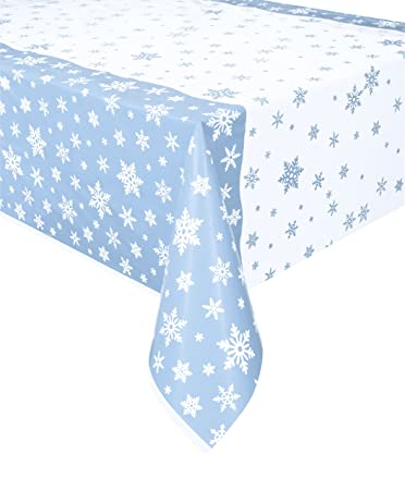 Snowflakes Holiday Plastic Tablecloth, 84u0026quot; ...