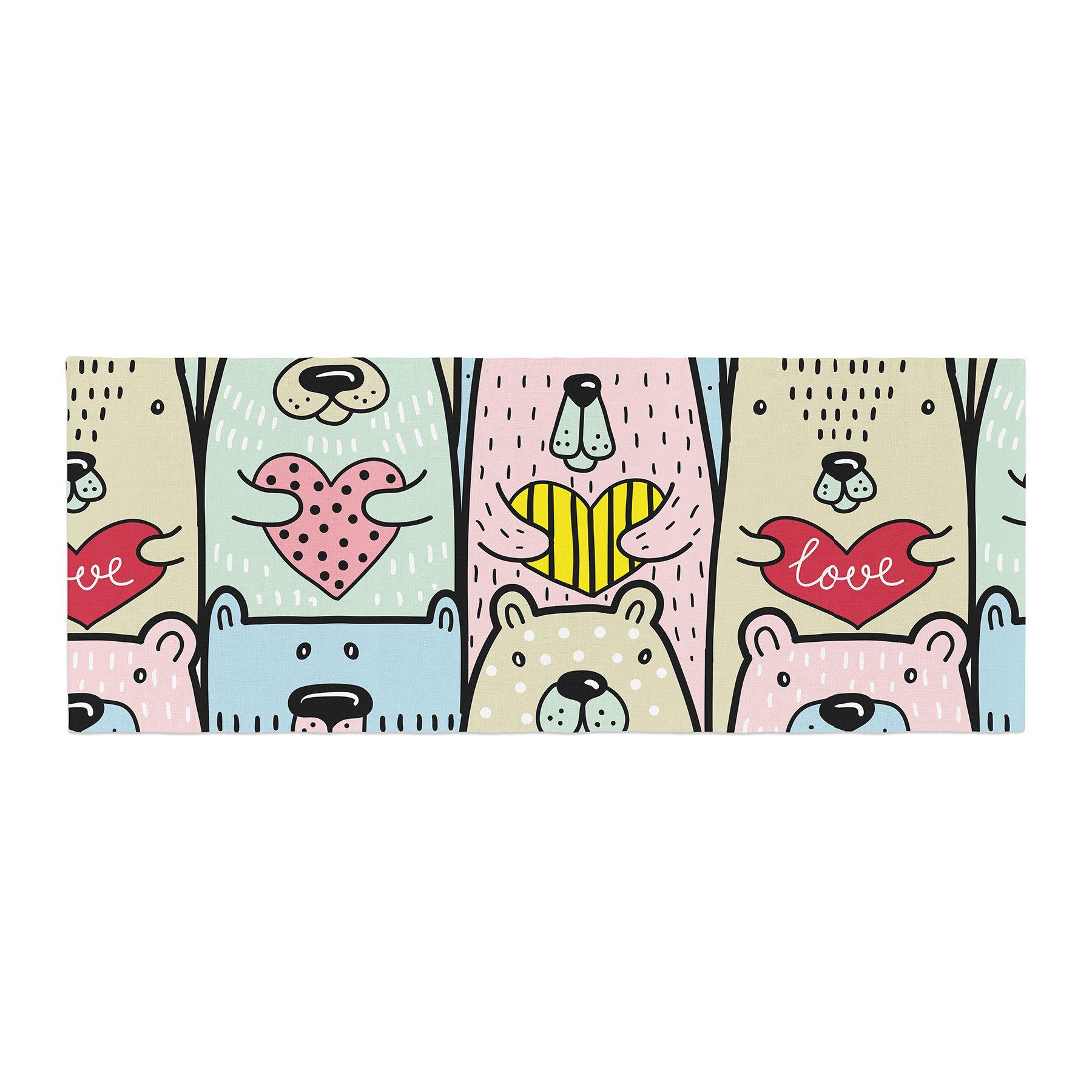 Kess InHouse Snap Studio Bear Hugs Animal Illustration Bed Runner, 34'' x 86''