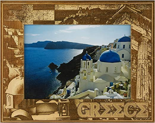5 x 7 Greece Laser Engraved Wood Picture Frame