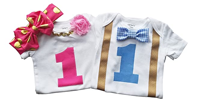 34f4f04cb Amazon.com: Boy Girl Twin Outfits 1st Birthday Set Blue Gingham and ...