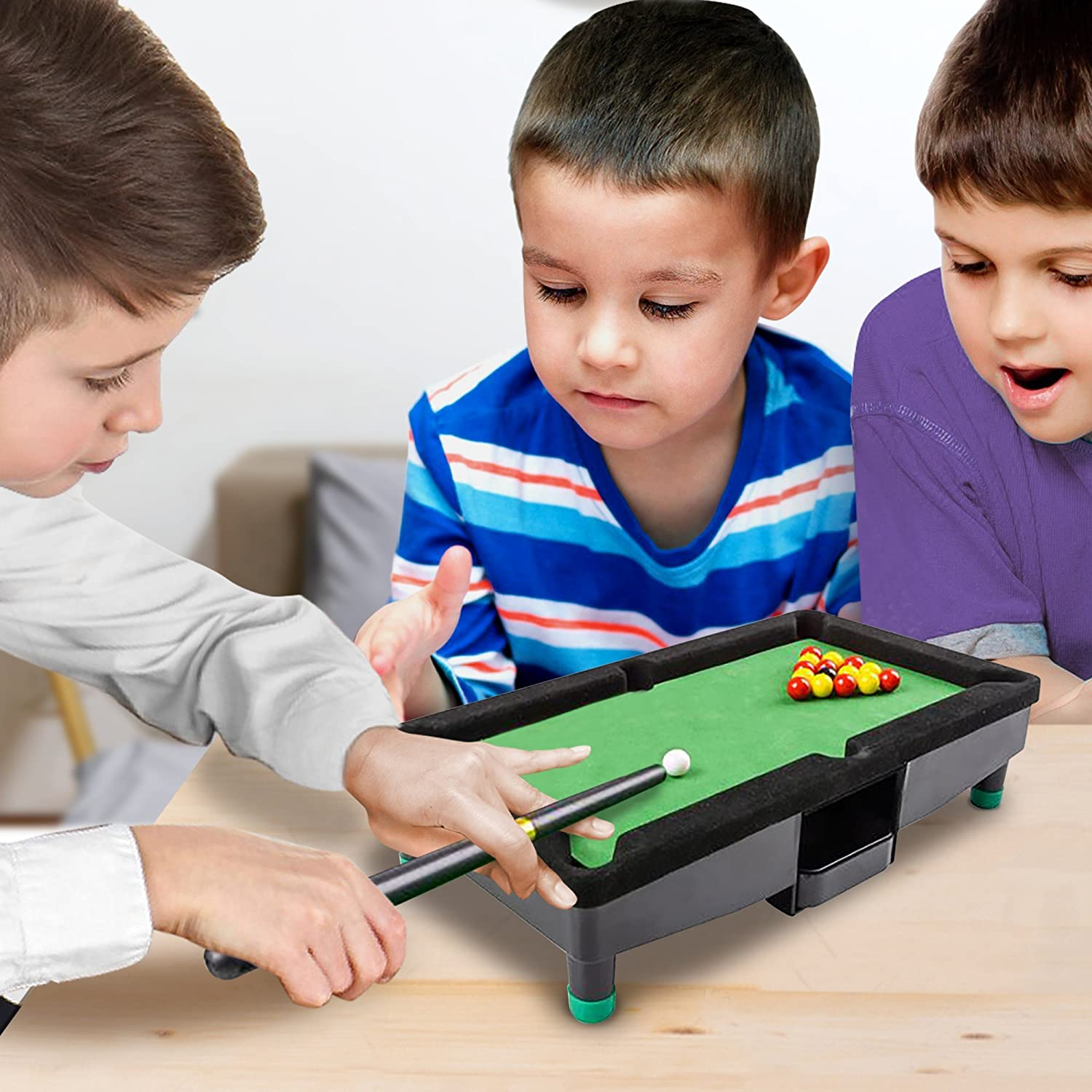 "12f1fb28325 9"" Travel Mini Pool Table for Kids by Gamie with 2 Sticks"