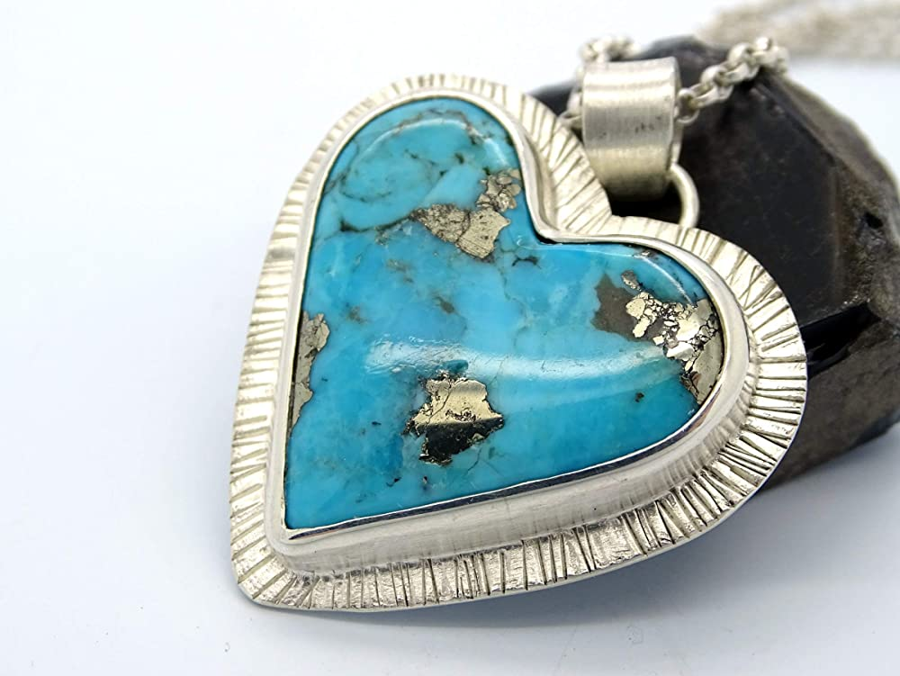 925 silver turquoise necklace with large pendant 18 inches long Gift for her Women/'s jewelry. Large Chunky necklace