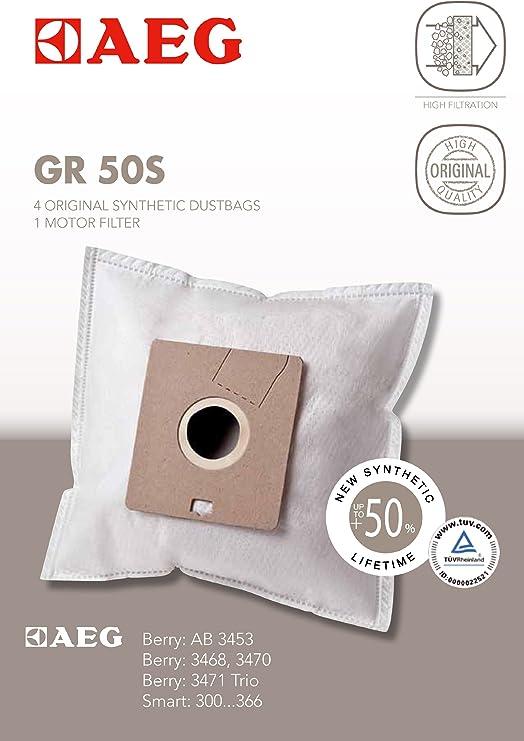 AEG Gr 50 S - Juego de 4 bolsas sintética y 1 filtro para motor para aspirador Berry AB Reihe, Smart 300 hasta 366: Amazon.es: Hogar