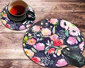 Round Mouse Pad and Coasters Set, Vintage Floral Custom Romantic Floral Painting Art Mousepad, Non-Slip Rubber Round Mouse Pad, Customized Mouse Mat for Working and Gaming