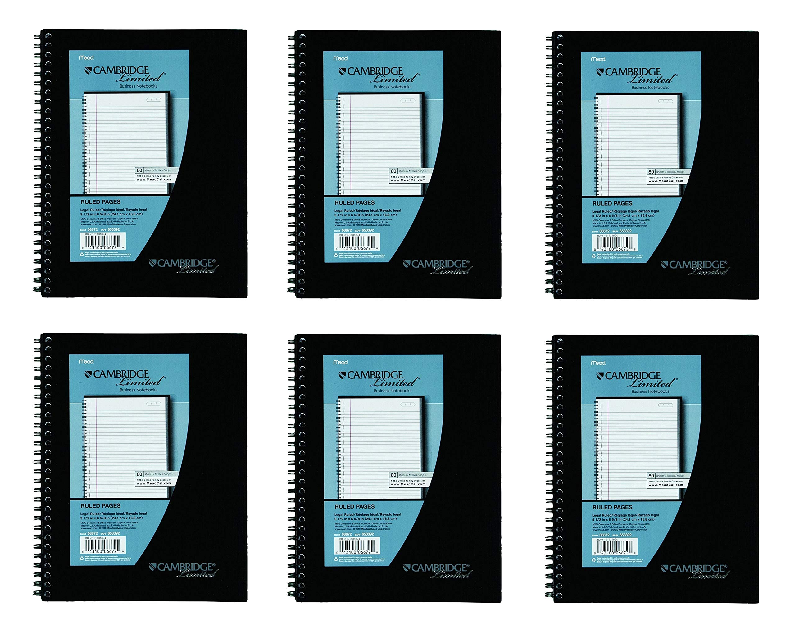 6 Pack of Mead Cambridge Wirebound Business Notebook, Legal Rule, 6 5/8 x 9 1/2 Inches, White, 80 Sheets per Pad (06672)