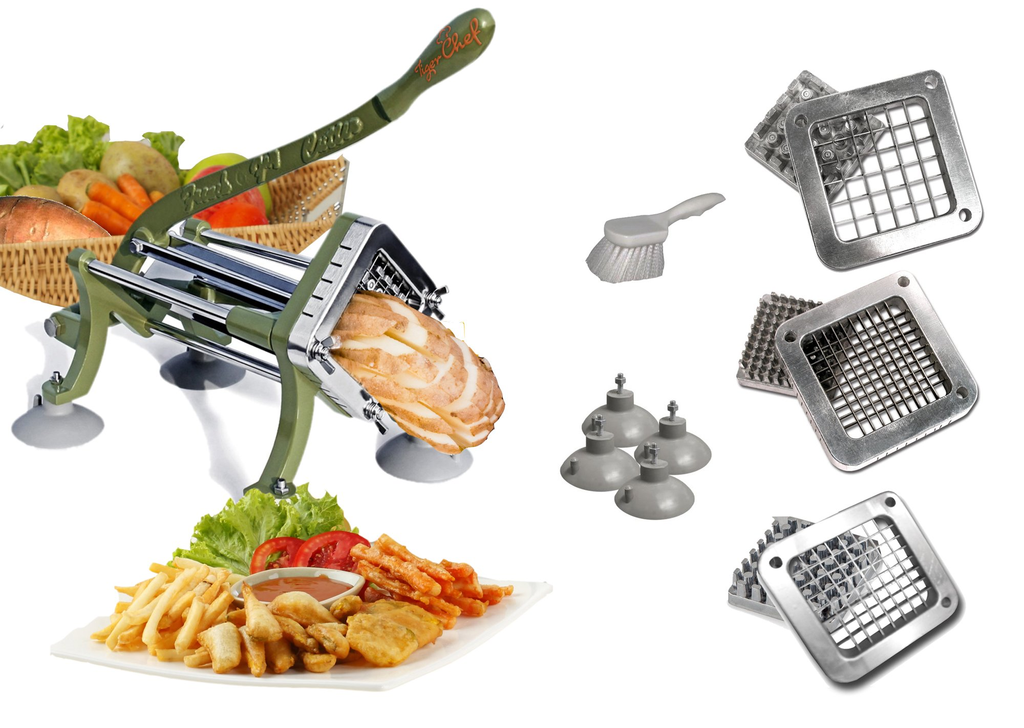 TigerChef TC-20562 Heavy Duty Potato French Fry Cutter Complete Set, Commercial Quality, Includes 1/4'', 3/8'' and 1/2'' Blades and Pusher Blocks, Suction Feet and Cleaning Brush