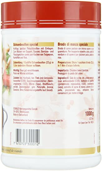 Amazon.com : Oswald Ochsenbouillon spezial, 1er Pack (1 x 1 kg) : Grocery & Gourmet Food