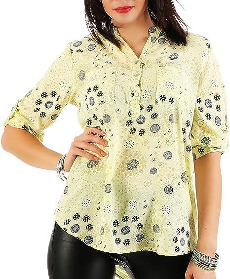 Zarmexx Blusa de Manga Corta la Blusa del Verano de la túnica de la Mujer modelada
