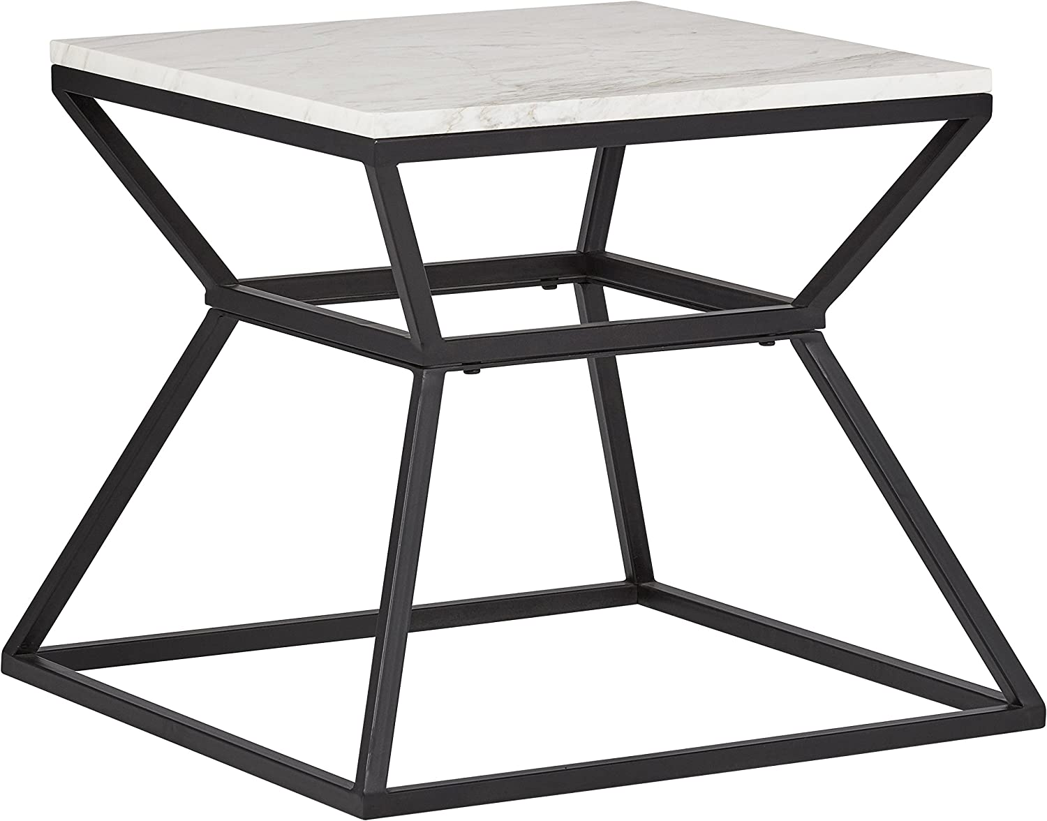 Amazon Brand – Rivet Mid-Century Modern White Marble and Metal Side End Table, 17