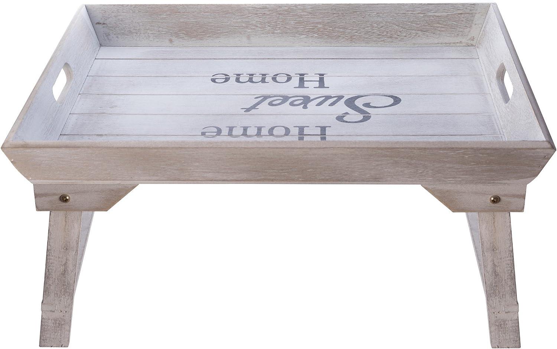 elbmöbel cama Bandeja (Madera, 48x 33x 25cm Bandeja para desayuno en la cama con patas plegables, para 2Bandeja Mesa y sofá mesa mesa auxiliar con bandeja Natural