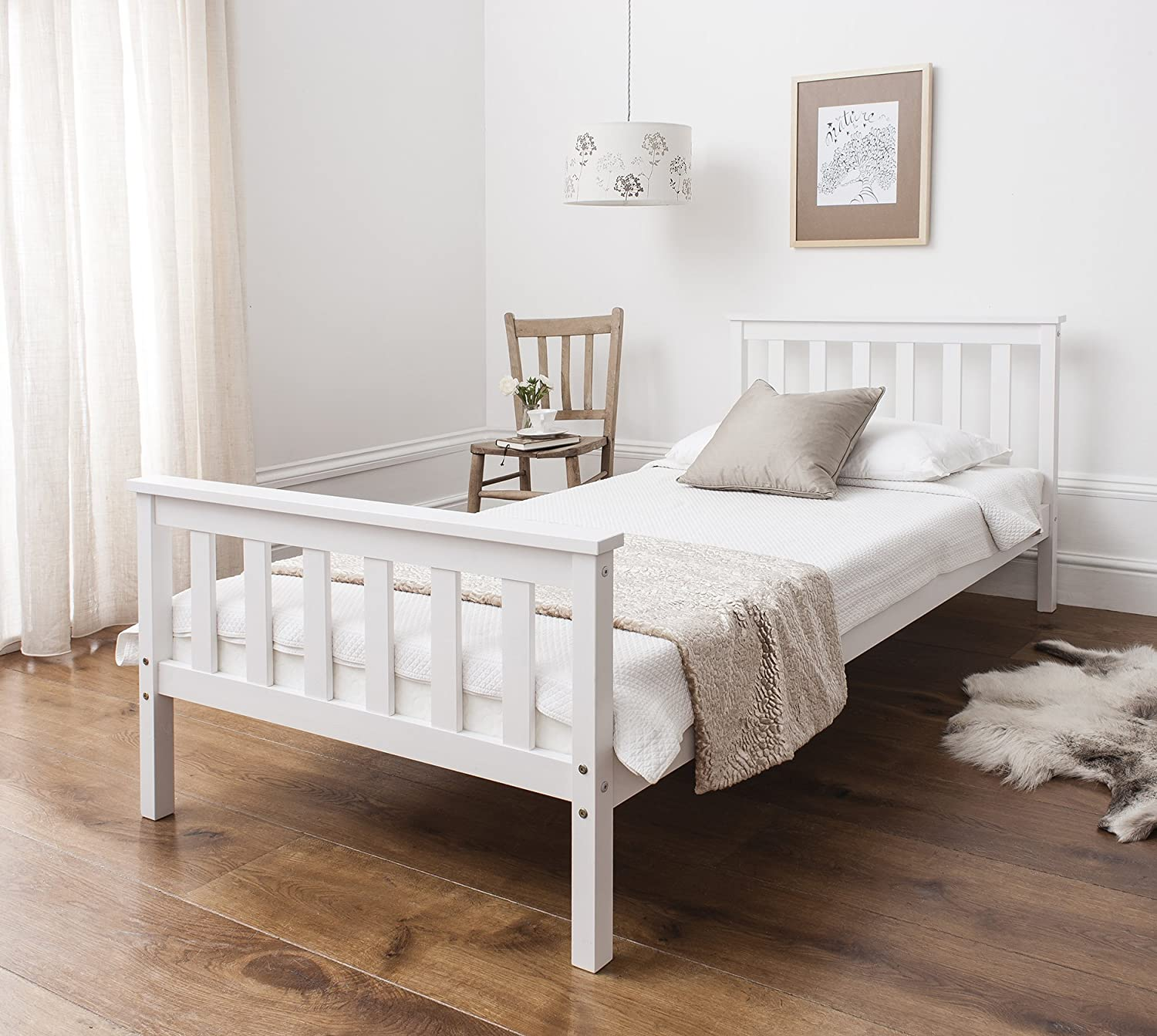 Single Bed in White 3ft Single Bed Wooden Frame WHITE Dorset Amazon
