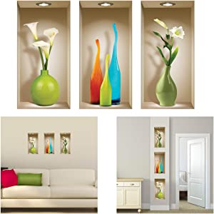 THE NISHA 3 PC Pack Art Magic Peel and Stick 3D Vinyl Removable Wall Sticker Decals DIY Sticky Backsplash, Colored Vases 131-2