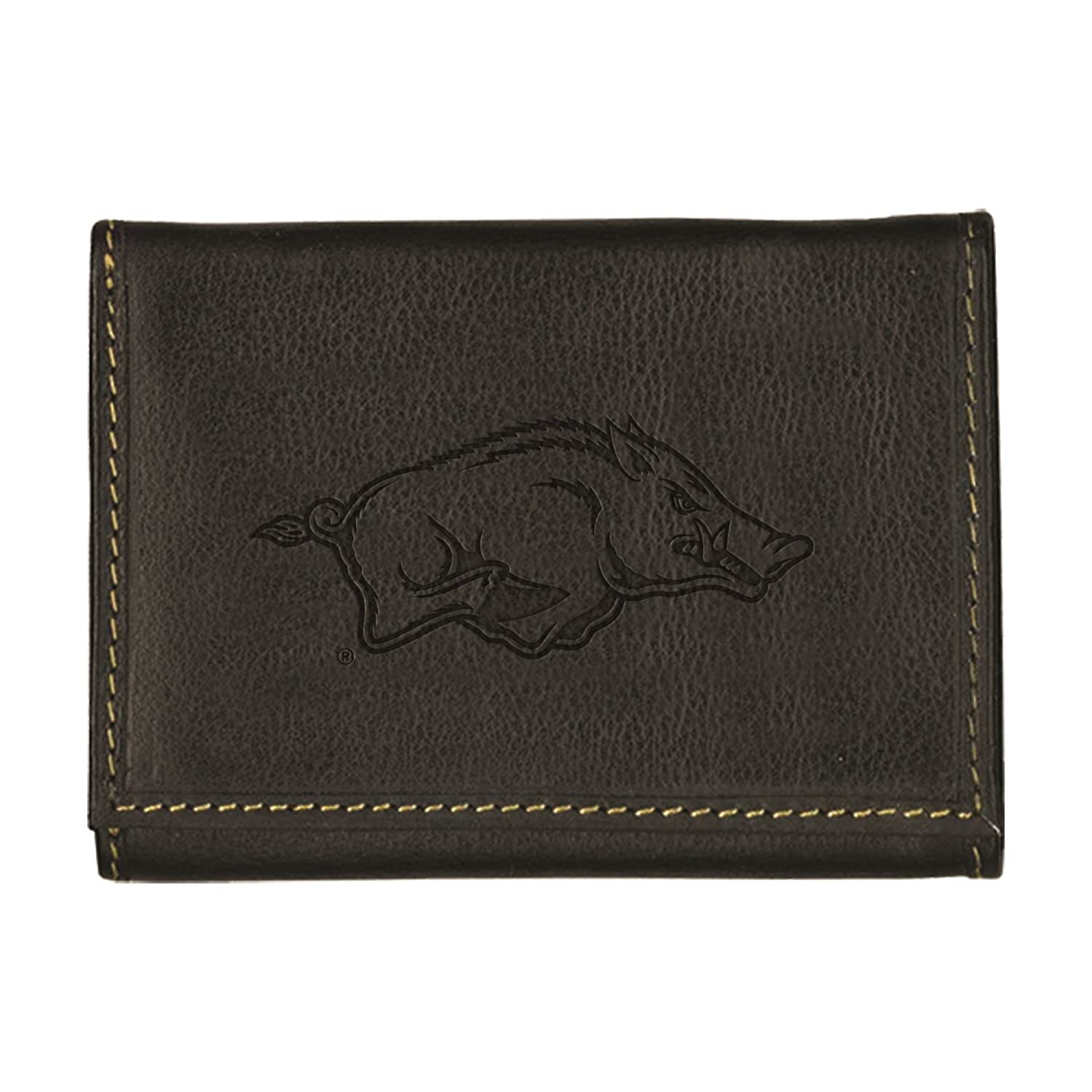 University of Arkansas Contrast Stitch Trifold Leather Wallet