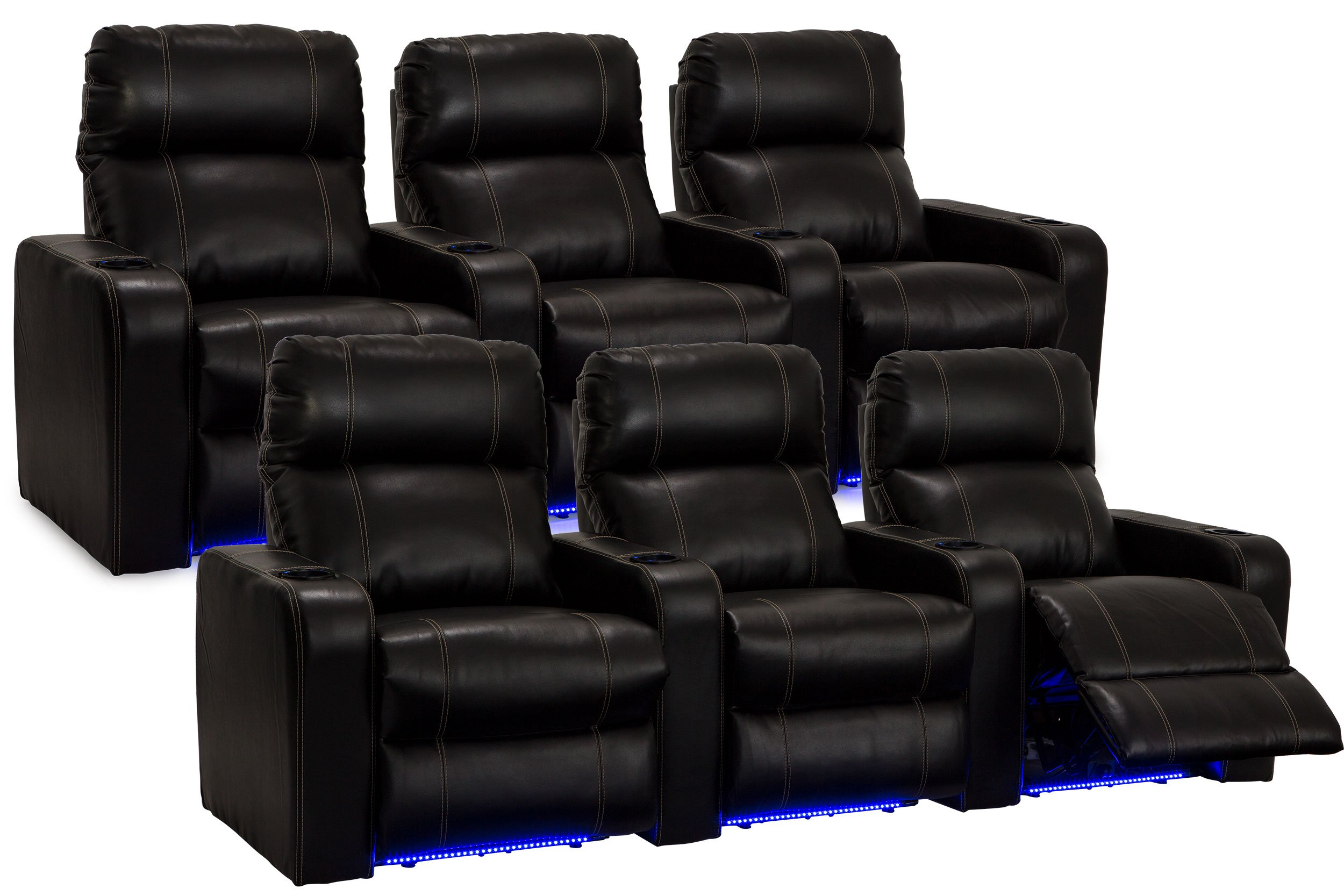 Lane Dynasty Black Bonded Leather Home Theater Seating w/ Base Lights - 2 Rows of 3 Seats - Power Recline