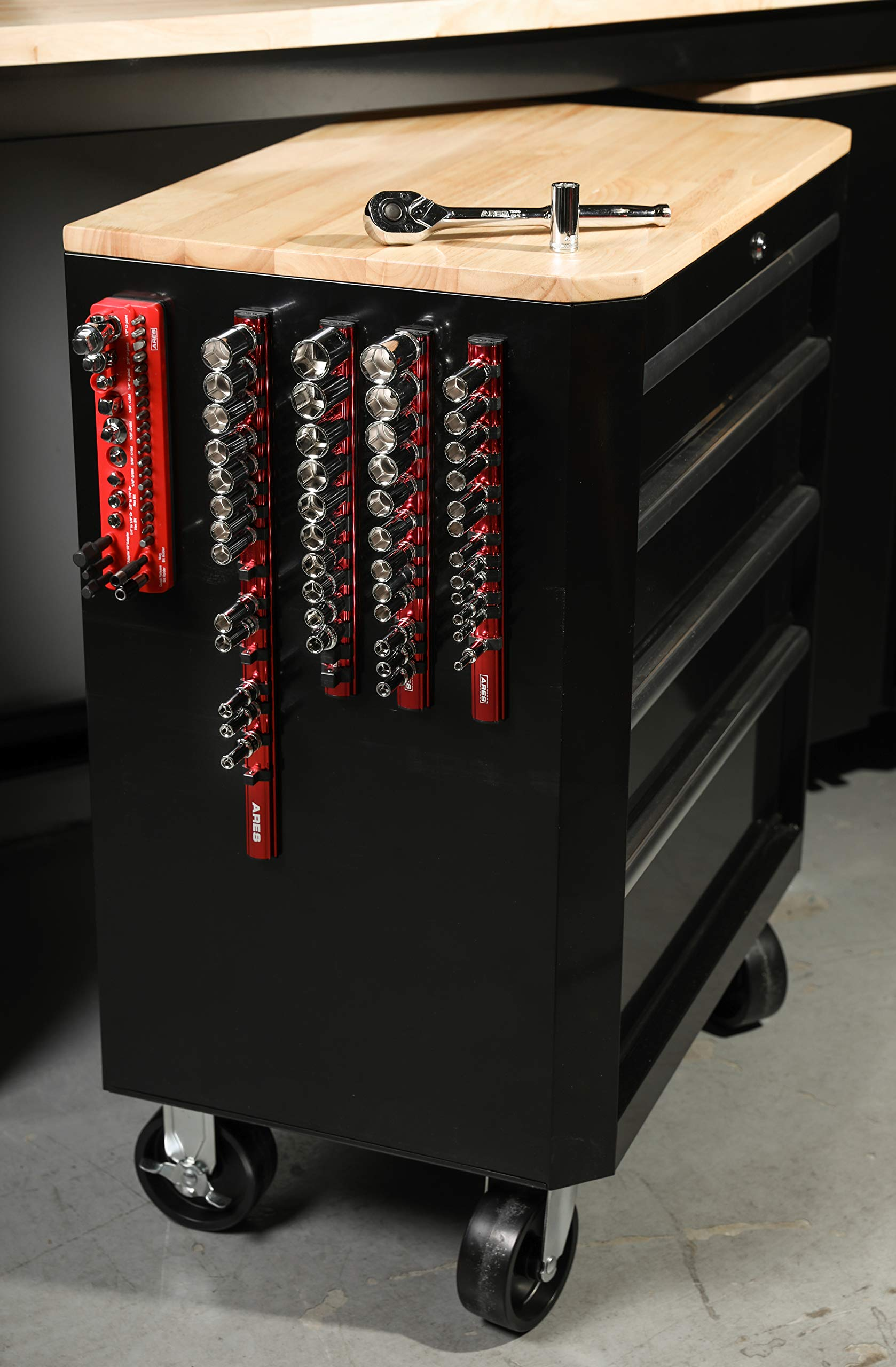 ARES 71181 | 3/8-Inch Drive Magnetic Socket Organizer | Aluminum Rail Stores up to 12 Sockets and Keeps Your Tool Box Organized by ARES (Image #5)