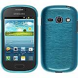 PhoneNatic Samsung Galaxy Fame Hülle Silikon blau brushed Case Galaxy Fame Tasche + 2 Schutzfolien