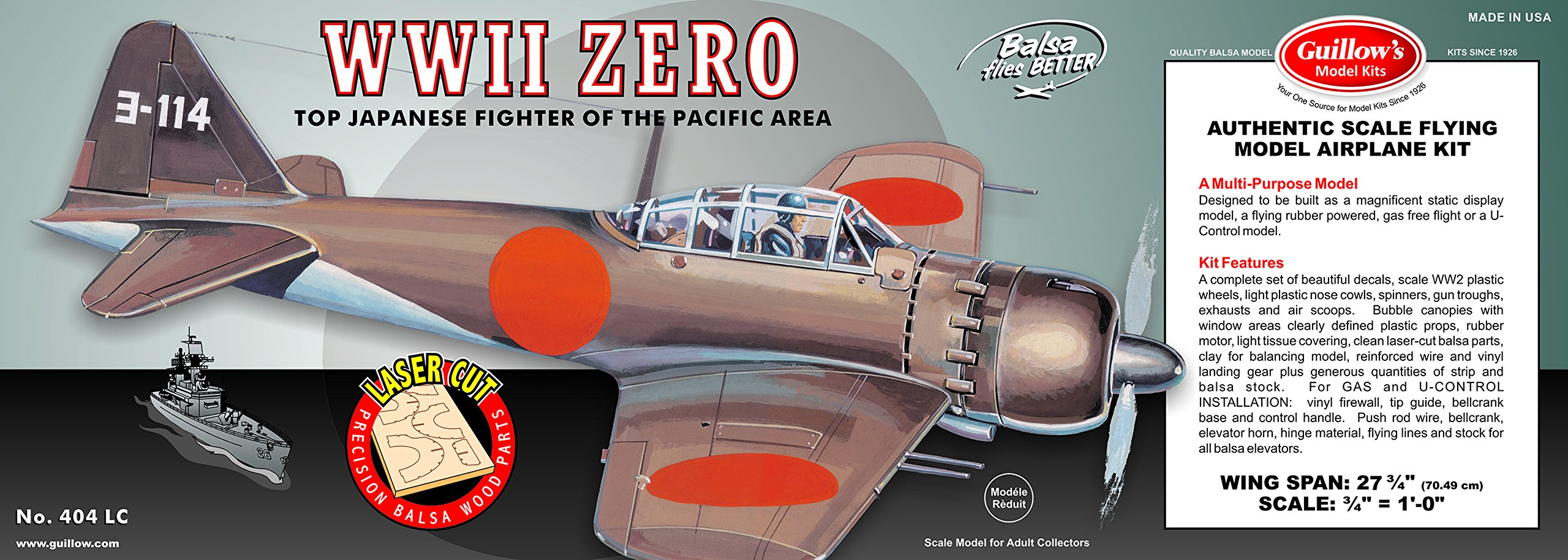 Guillow's WWII Zero Laser Cut Model Kit by Guillow (Image #1)