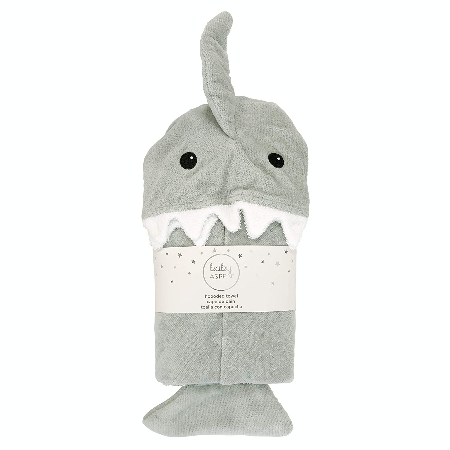 Baby Aspen Gray Shark Baby Hooded Towel, Grey/White