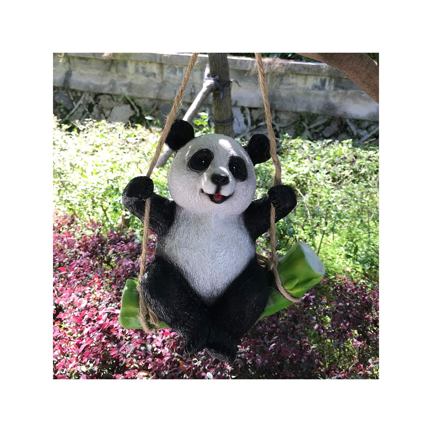 Goods247 Cute Black and White Panda Swing on Bamboo Creative Statue as Garden Decoration