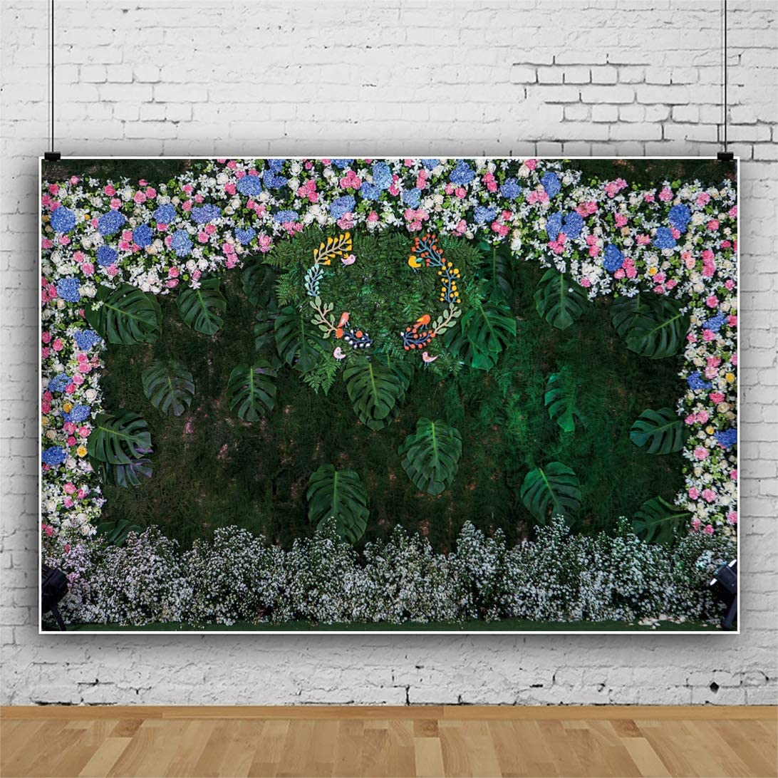 AOFOTO 12x10ft Tropical Leaves Garland Wedding Backdrop Green Wall Colourful Wreath Decor Marriage Anniversary Reception Bridal Shower Background Baby Shower Mothers Day Photoshoot Props Vinyl
