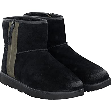 UGG Mens Classic Mini Zip Waterproof Rain Boot, Black, Size 8