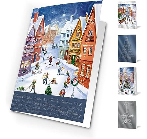 Felicitaciones de navidad trees. Pack De 10 Tarjetas.: Amazon.es ...