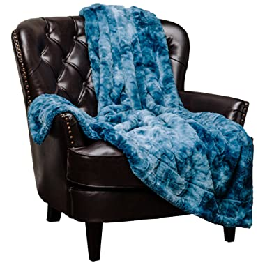 Chanasya Faux Fur Throw Blanket   Super Soft Fuzzy Light Weight Luxurious Cozy Warm Fluffy Plush Hypoallergenic Blanket for Bed Couch Chair Fall Winter Spring Living Room (60  x 70 ) - Blue