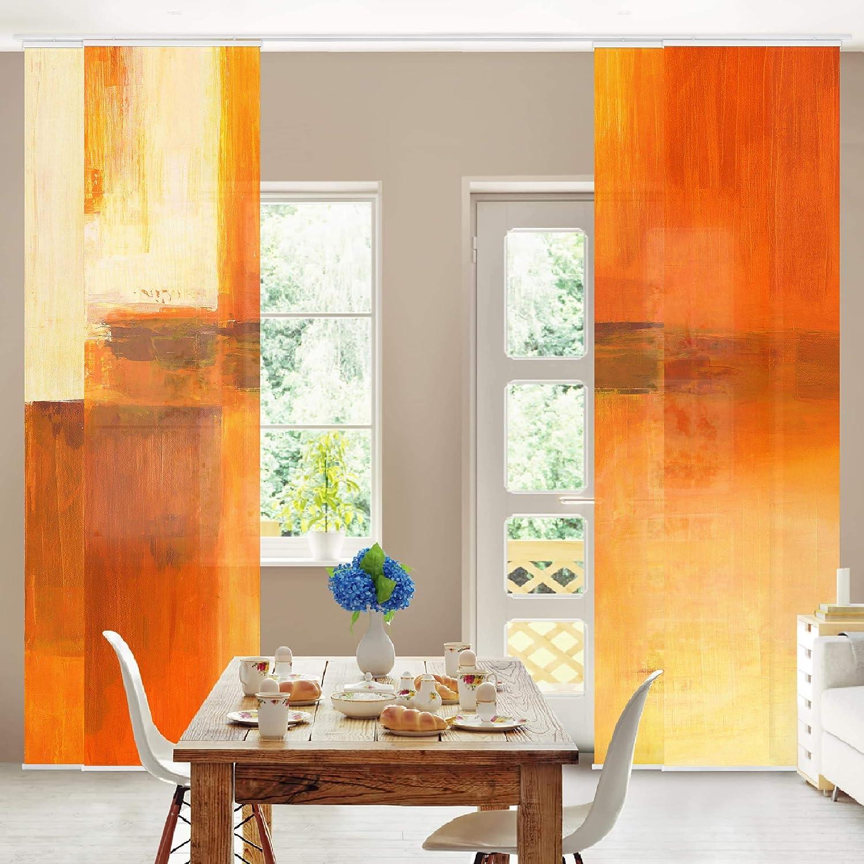 Bilderwelten Schiebegardinen Set Orange Braun 4 Fl/ächenvorh/änge Deckenhalterung 250 x 240 cm