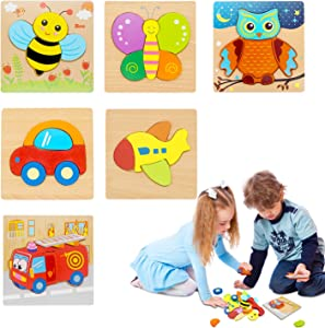 Wooden Toddler Puzzles, 6 Pack Wooden Animal/Vehicle Shapes Jigsaw Puzzles for Toddlers Ages 1 2 3 Preschool Early Educational Toys Gift for Boys and Girls