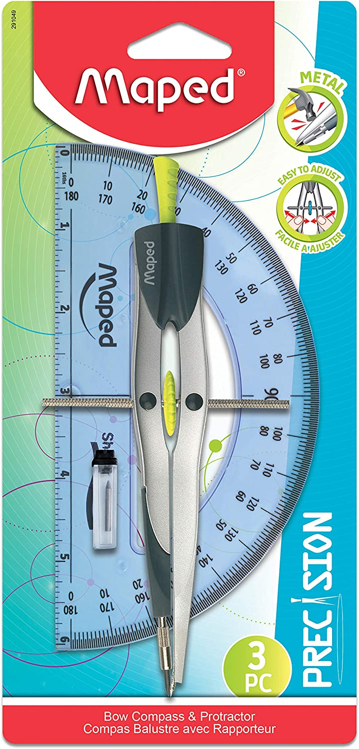 18803 Helix Universal Locking Compass and Protractor Set Assorted Colors