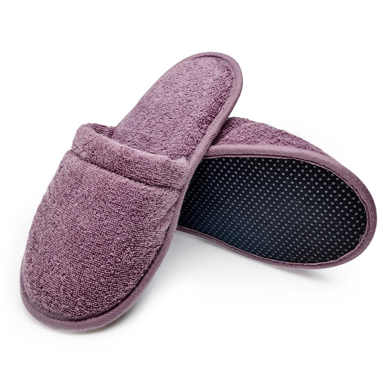 Arus Women's Organic Turkish Terry Cotton Memory Foam Spa Slippers Plum L/XL