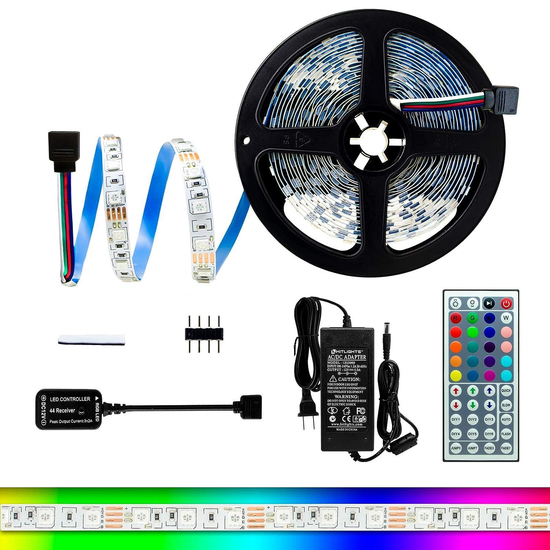 HitLights High Density RGB LED Light Strip Kit 16.4 Feet Includes Power Supply and Controller. 300 LEDs 12V DC Tape Lights