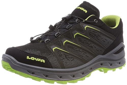 Lowa Aerox GTX Lo, Stivali da Escursionismo Alti Uomo, Nero (Schwarz/Limone 9903), 42.5 EU