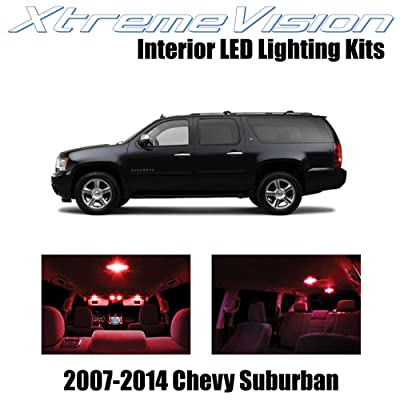 Xtremevision Interior LED for Chevy Suburban 2007-2014 (14 Pieces) Red Interior LED Kit + Installation Tool: Automotive