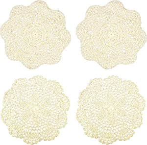 IDONGCAI Cotton Handmade Lace Doilies Cloth Crochet Round Coaster for Dressers and End Tables Home Decoration Accessories 4 Pcs (Package 3)