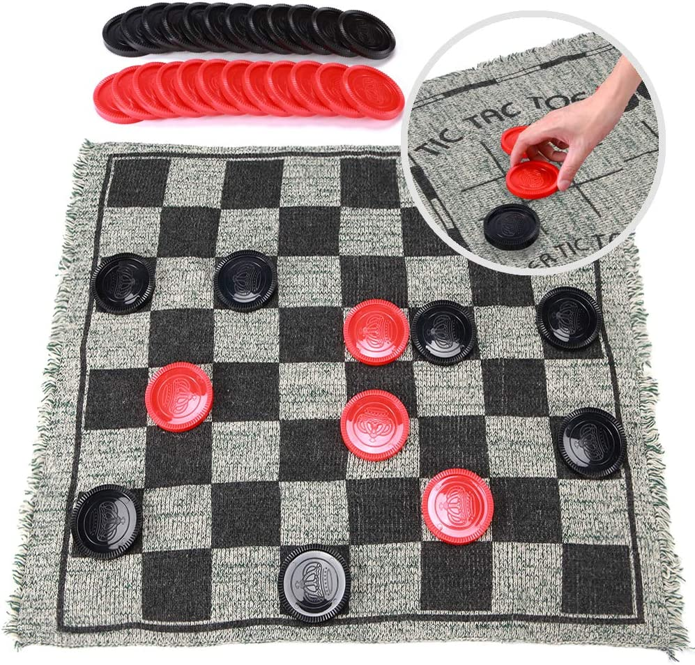Super Tic Tac Toe and Giant Checkers Board Game for Kids and Adults, 1214 Inches 3 in 1 Reversible Rug with Jumbo Pieces, Best for Outdoor Play, Lawn and Backyard Games, Fun Family Games and Gift