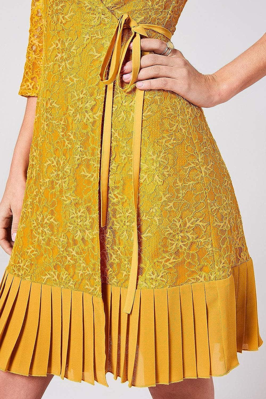 Little Mistress Womens Penelope Spice Gold Lace Wrap Dress Party