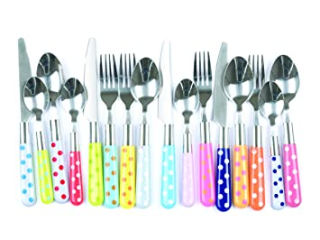 present time assorted colors polka dots cutlery set 16piece