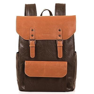Jack&Chris Vintage Canvas Leather Laptop Backpack Shoulder Bag Rucksack Satchel, MC2166