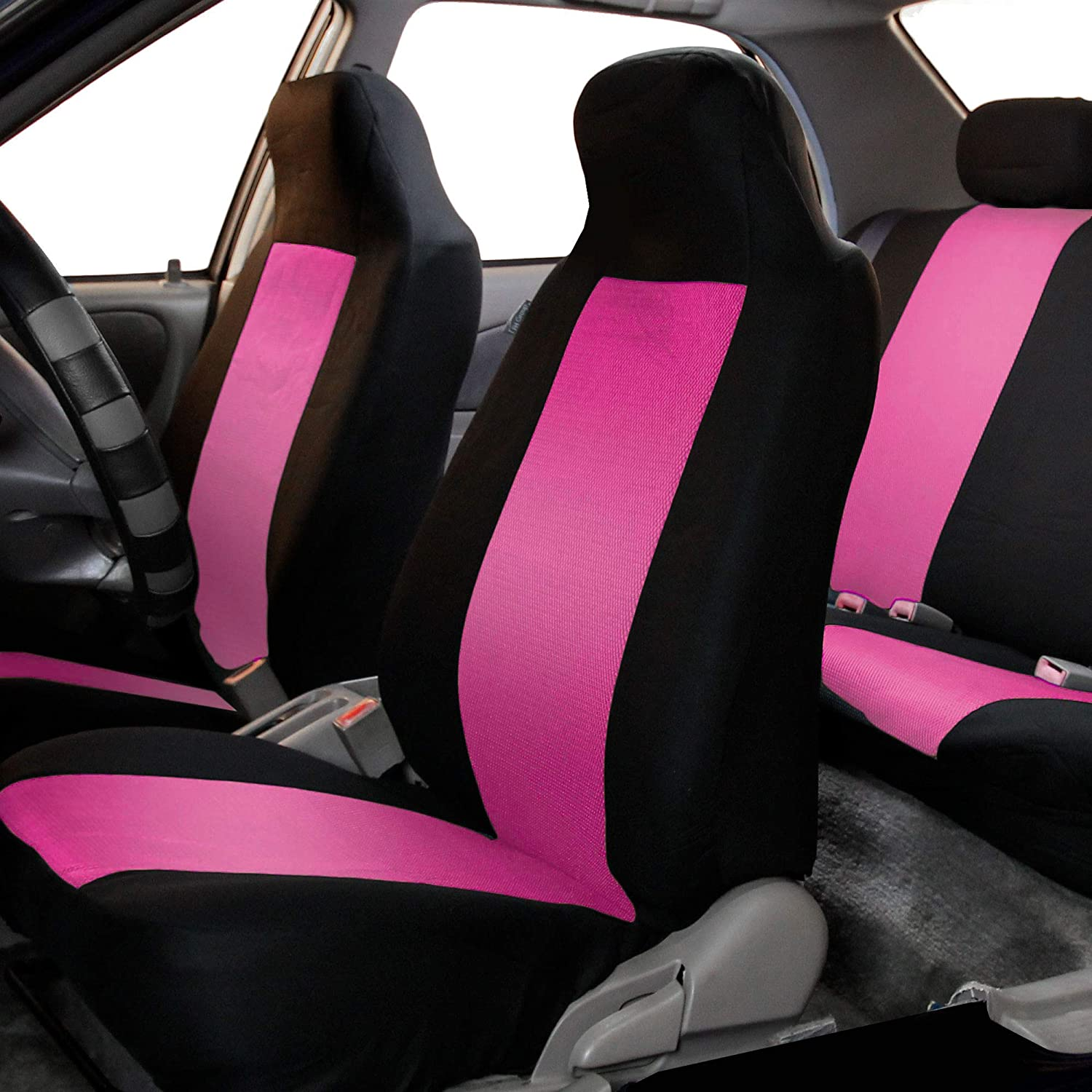 or Van SUV Truck FH Group FB102PINK102-AVC FB102PINK102 Classic Cloth Pair Set Seat Covers Pink//Black-Fit Most Car